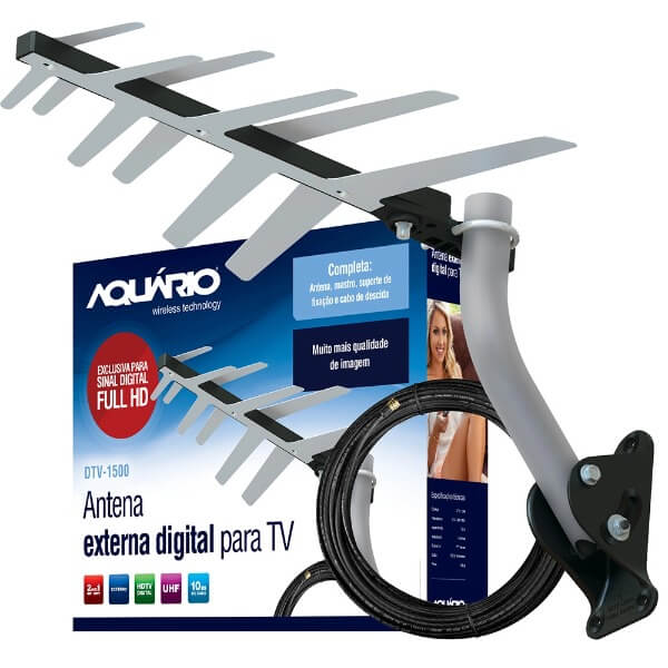 Antena Digital Externa TV Aquario DTV-1500 UHF / HDTV